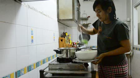 soya peyniri : Thai woman cooking  mild soup with vegetables, pork and bean curd in thai kitchen