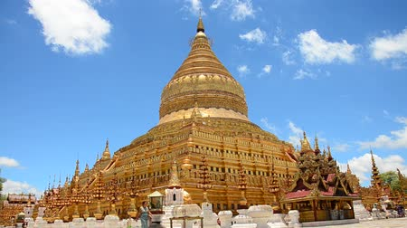 shwezigon : Traveller and Burmese people come to Shwezigon Pagoda for pray and travel at Bagan on May 20 2015 in Mandalay Myanmar