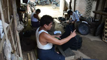 lacquerware : Burmese people working made Lacquerware burma style at Old Bagan