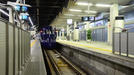 shinkansen : Rapid train at Numba station go to Kansai Airport in Osaka, Japan Stock Footage
