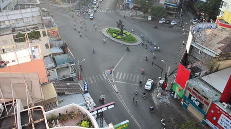 chi : High angle view cityscape and traffic road near Ben Thanh Market in Ho Chi Minh, Vietnam