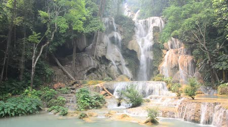 prabang : Kuang Si Falls or Tat Kuang Si Waterfalls in Luang Prabang, Laos Stock Footage