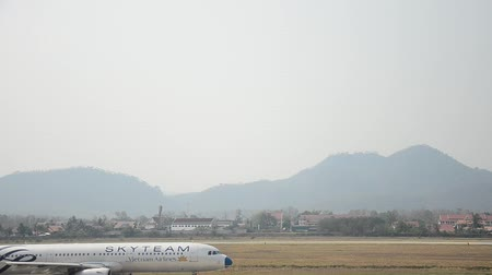 prabang : Aircraft prepare to take off at Louangphrabang airport in Louang Phrabang, Laos