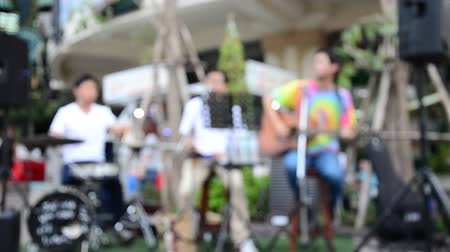 playing band : Blurred motion live band playing music for show Stock Footage