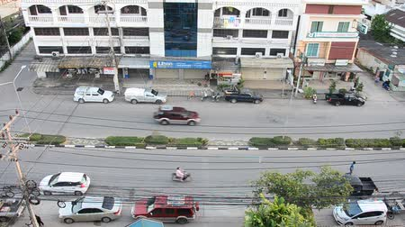 Landscape and cityscape with traffic road of Lampang city in morning time in Lampang, Thailand Stok Video