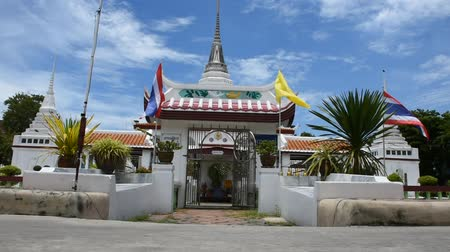samut : Wat Prot Ket Chettha Ram temple for people visit and pray at Amphoe Phra Pradaeng in Samut Prakan, Thailand Stock Footage