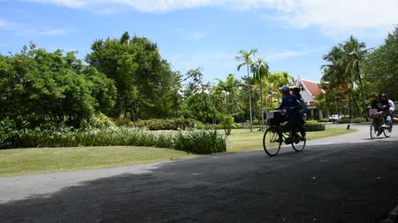 samut : Travelers people walking and biking bicycle in Sri Nakhon Khuean Khan Park and Botanical Garden or khung bang kachao park in Samut Prakan, Thailand
