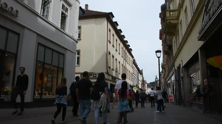 historical germany : German and foreigner travelers people walking and visit heidelberger market square or marktplatz and go to Heidelberg Castle in Heidelberg, Germany Stock Footage