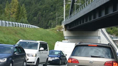 otoyol : Landscape of highway and traffic jam on the road between Meran go to Stuttgart on September 3, 2017 in Tyrol, Austria