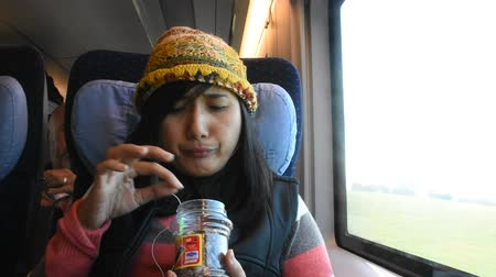 demiryolu : Asian thai women eating snack and listen music on mobile phone while sit on train running from Germany go to France in Nuremberg, Germany