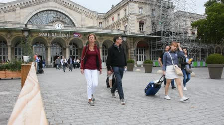 french metro : French people and foreigner travelers walking in and out at Gare de Paris-Est or Paris Gare de lest railway station of Paris Metro on September 5, 2017 in Paris, France