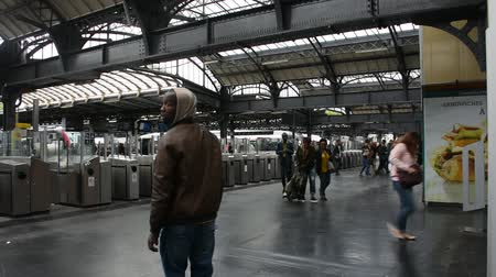 french metro : French people and foreigner travlers walk and wait train at Gare de Paris-Est or Paris Gare de lest railway station of Paris Metro on September 7, 2017 in Paris, France