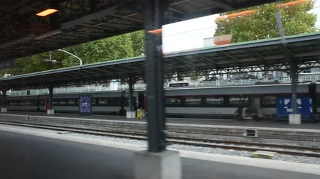 french metro : View of beside train station at Gare de Paris-Est or Paris Gare de lest railway station of Paris Metro between running go to Germany on September 7, 2017 in Paris, France