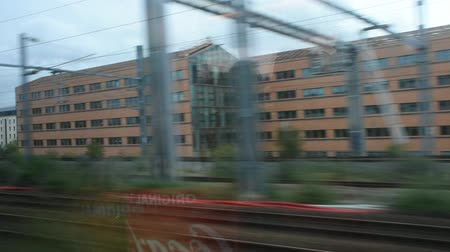 french metro : View landscape and cityscape of Paris city from train running from Gare de Paris-Est or Paris Gare de lest railway go to Germany on September 7, 2017 in Paris, France