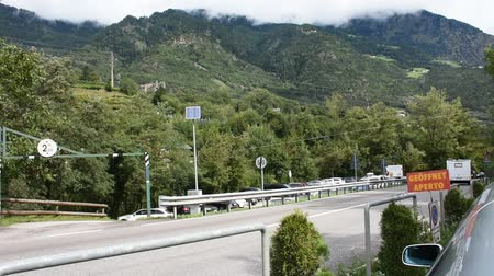 tirol : View landscape and traffic road on highway at countryside passed Oetztal tiroler village go to Meran or Merano city of on September 2, 2017 in Tyrol, Austria