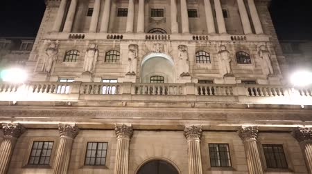 tilt : The Bank of England, City of London, UK, at night Stock Footage