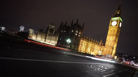 night scene : Big Ben,  Palace of Westminster, at Night Stock Footage