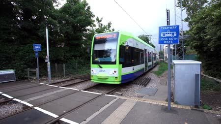 general electric : London, UK - July 13, 2015: General View of Croydon Tramlink, tram present, since 2000, 38 stops along 27 kilometres.