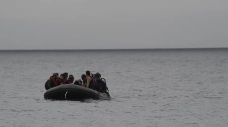 eftalou : Refugees arriving in Greece in dinghy boat from Turkey. These Syrian, Afghan and African refugees land Their boat at the coast or near Mytilene Lesvos, Molivos, Eftalou and Skala Sykaminia.