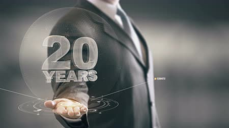 yirmi : Twenty 20 Year Businessman Holding in Hand New technologies Stok Video