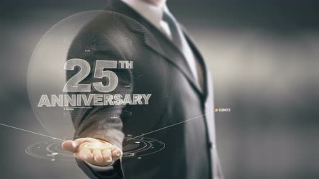 yirmi : Twenty Five 25th Anniversary Businessman Holding in Hand New technologies