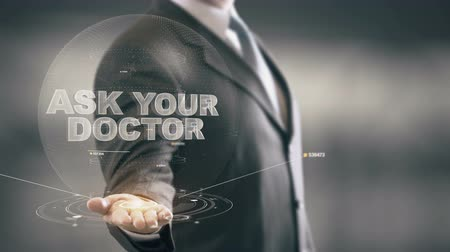 przychodnia : Ask Your Doctor Businessman Holding in Hand New technologies