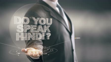slovník : Do You Speak Hindi Businessman Holding in Hand New technologies