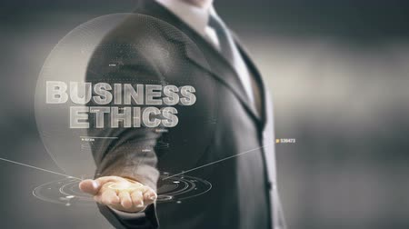 compromisso : Business Ethics Businessman Holding in Hand New technologies