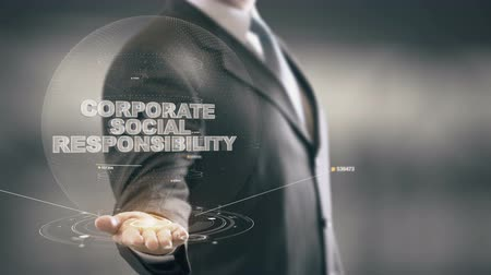 sorumluluk : Corporate Social Responsibility Businessman Holding in Hand New technologies