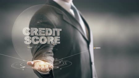 ponto : Credit Score Businessman Holding in Hand New technologies