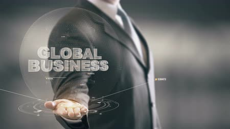 ithalat : Global Business Businessman Holding in Hand New technologies Stok Video