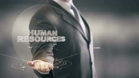 zarządzanie : Human Resources Businessman Holding in Hand New technologies Wideo