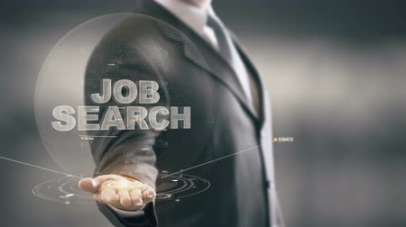 мобильный телефон : Job Search Businessman Holding in Hand New technologies