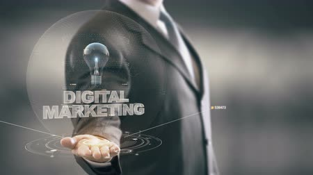 trener : Digital Marketing with bulb hologram businessman concept
