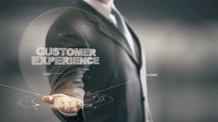 deneyim : Customer Experience with hologram businessman concept Stok Video