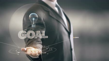benefício : Goal with bulb hologram businessman concept Stock Footage