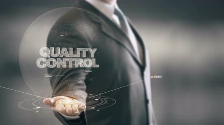 excelência : Quality Control with hologram businessman concept Stock Footage