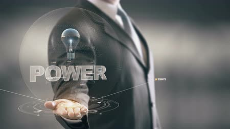 innovator : Power with bulb hologram businessman concept Stock Footage