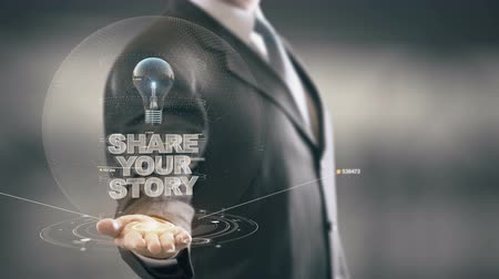 innovator : Share Your Story with bulb hologram businessman concept Stock Footage