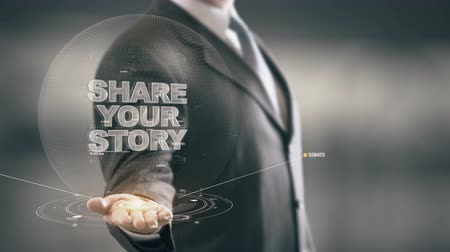 innovator : Share Your Story with hologram businessman concept