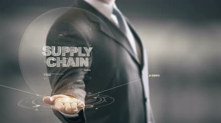 leverancier : Supply Chain met hologram zakenman concept Stockvideo