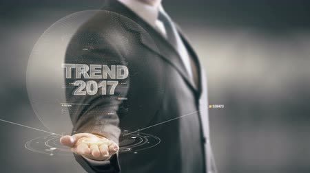 innovator : Trend 2017 with hologram businessman concept Stock Footage