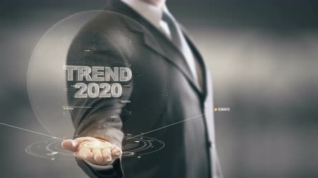 innovator : Trend 2020 with hologram businessman concept
