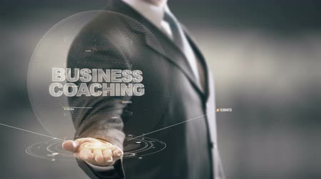 innovator : Business Coaching with hologram businessman concept Stock Footage