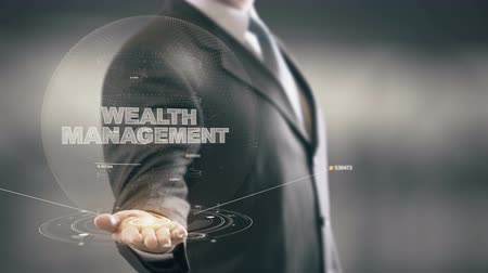 wealth : Wealth Management Businessman Holding in Hand New technologies