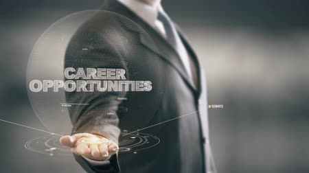 talep : Career Opportunities with hologram businessman concept