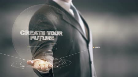 criar : Create Your Future with hologram businessman concept