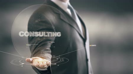 innovator : Consulting with hologram businessman concept Stock Footage