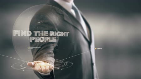 pracodawca : Find The Right People with hologram businessman concept