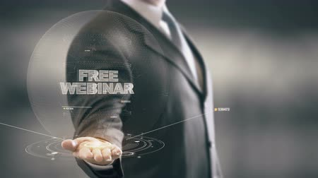 warsztat : Free Webinar with hologram businessman concept